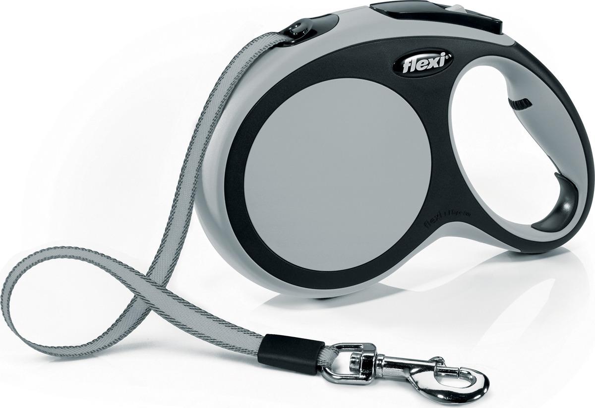 """Поводок-рулетка Flexi """"New Comfort"""", лента, для собак весом до 50 кг, цвет: черный, серый, 8 м. Размер L"""
