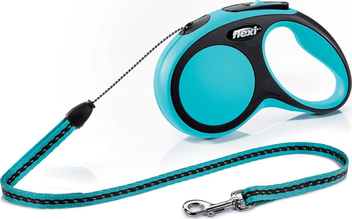 """Поводок-рулетка Flexi """"New Comfort"""", трос, цвет: черный, голубой, 12 кг, 5 м. Размер S"""