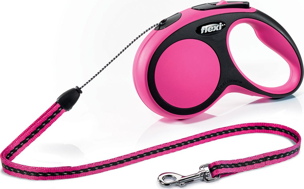 """Поводок-рулетка Flexi """"New Comfort"""", трос, цвет: черный, сиреневый, 12 кг, 5 м"""