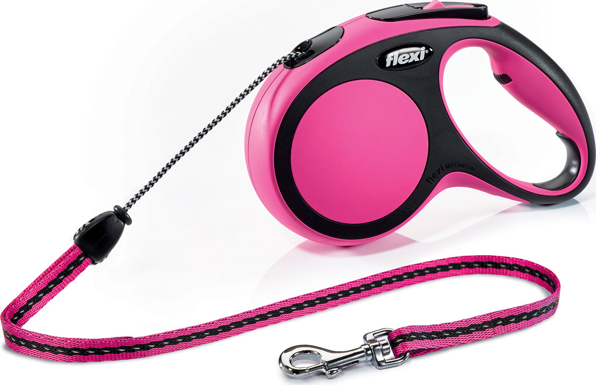 Поводок-рулетка Flexi New Comfort М, трос, для собак весом до 20 кг, цвет: черный, розовый, 5 м поводок рулетка flexi color м для собак до 20 кг цвет черный голубой 5 м