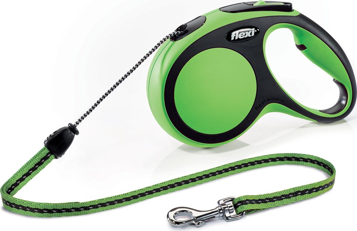 Поводок-рулетка Flexi New Comfort М, трос, для собак весом до 20 кг, цвет: черный, зеленый, 5 м поводок рулетка flexi color м для собак до 20 кг цвет черный голубой 5 м