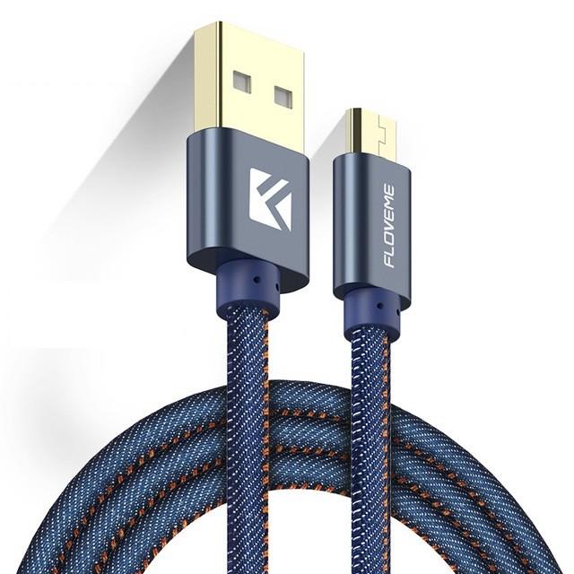 Кабель Floveme micro-USB в тканевой оплетке, джинсовый, 1.0 м, синий кабель alca micro usb 2 0 510640 плоский 1 м синий