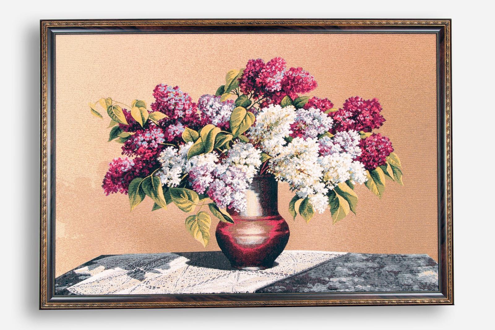 Картина Магазин гобеленов сирень в кувшине 75*107 см, Гобелен сирень картина верность 60 40 см