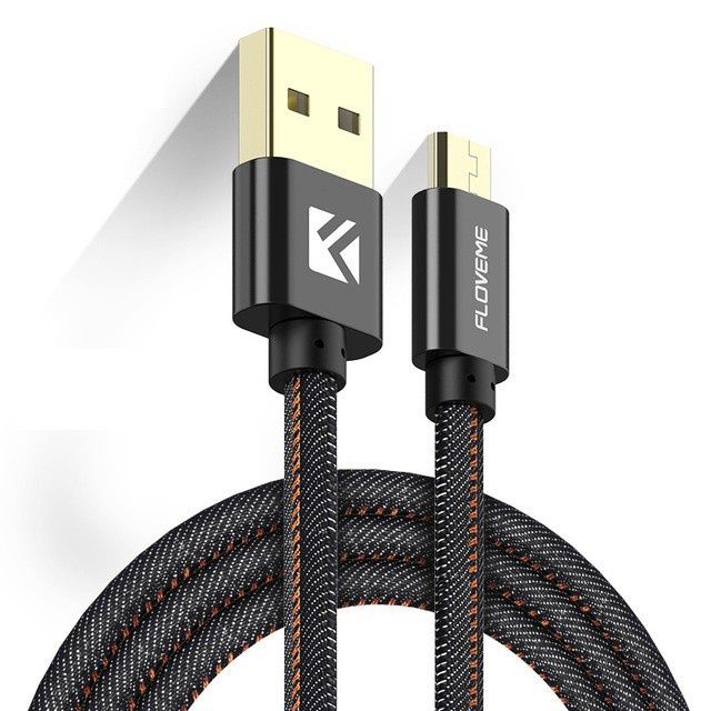 Кабель Floveme micro-USB в тканевой оплетке, 1.0 м, черный цена и фото