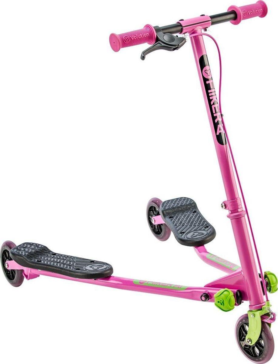 Самокат инерционный детский Yvolution Fliker Air A1, 101055, розовый, зеленый цена