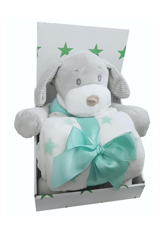 "Мягкая игрушка UVITON Набор Детский плед и игрушка ""Собачка"" серый, бирюзовый"