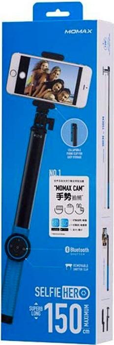 лучшая цена Монопод Momax Selfie Hero Bluetooth Selfie Pod, 150 см, голубой