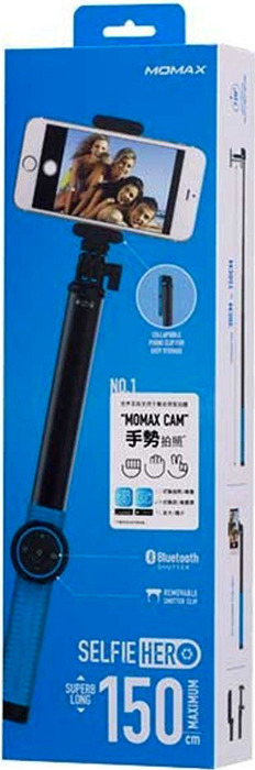 цена Монопод Momax Selfie Hero Bluetooth Selfie Pod, 150 см, голубой