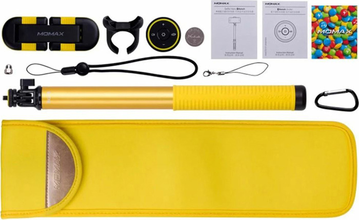 лучшая цена Монопод Momax Selfie Hero Bluetooth Selfie Pod, 150 см, желтый