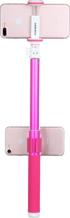 Монопод для селфи Momax Selfie Hero Duo 100 cm на 2 устройства, розовый