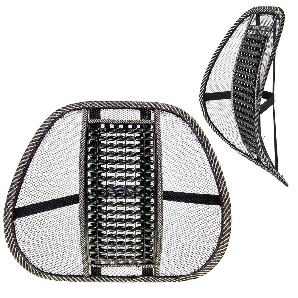 Подушка для поддержки спины и поясницы New Galaxy, массажная, с деревянными вставками, 768448, черный, серый, 44 х 40 х 1,5