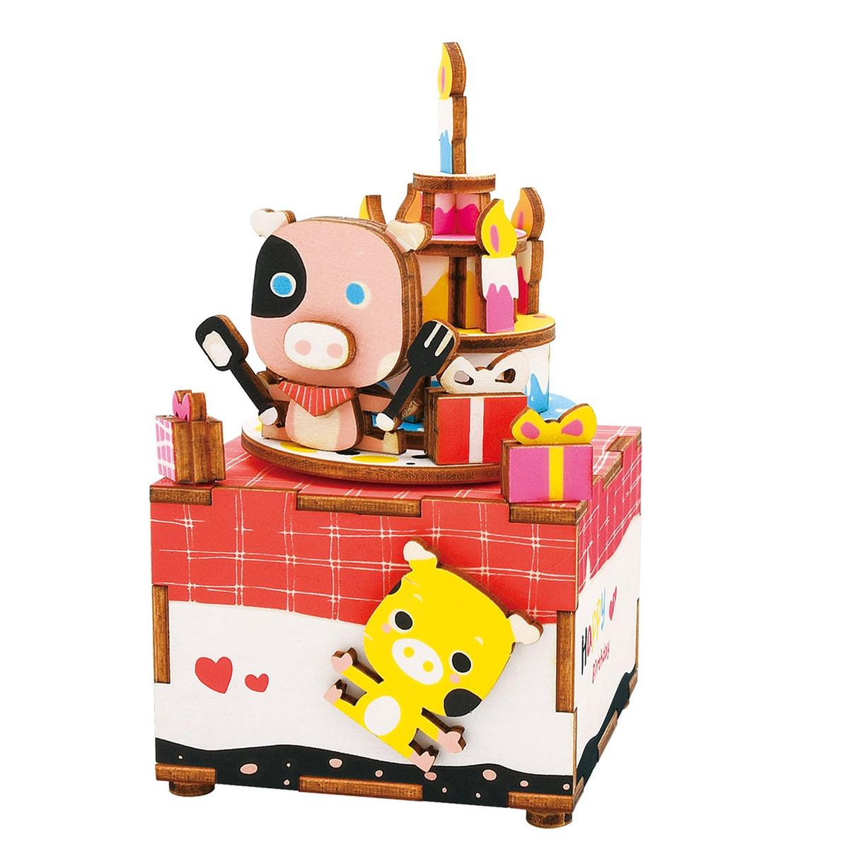 Деревянный конструктор Robotime Деревянный 3D конструктор - музыкальная шкатулка Happy birthday конструктор robotime любимая кофейня 203 элемента