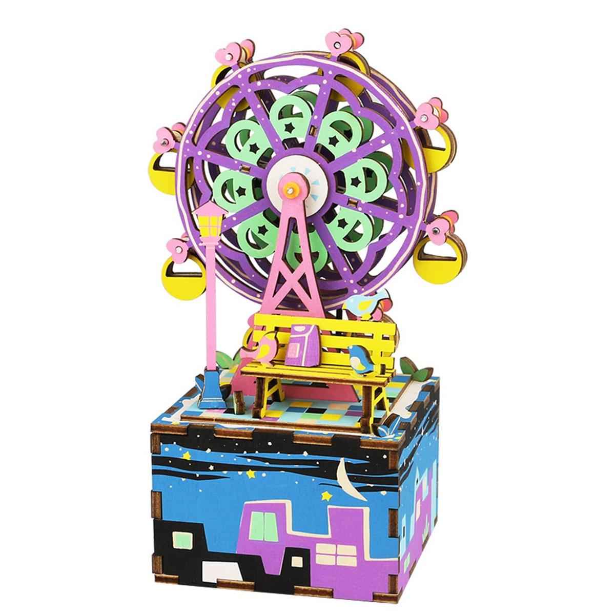Деревянный конструктор Robotime Деревянный 3D конструктор - музыкальная шкатулка Ferris Wheel AM402 стоимость