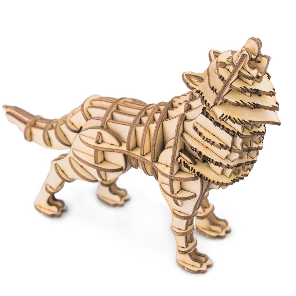3D Пазл Robotime Деревянные 3D пазлы WolfTG207Деревянные 3D пазлы Robotime - сборный конструктор из дерева, предназначенный для детей, которые обожают мастерить что-то своими руками. Сначала необходимо выдавить детали с листа фанеры, после чего собрать поделку, используя инструкцию. Клей в процессе сборки изделия не понадобится. В результате получится объемная игрушка, которую можно раскрасить красками, а после этого вскрыть лаком (лаки и краски не идут в комплекте, а приобретаются отдельно). Сборка 3D пазла способствует совершенствованию конструкторских навыков, мелкой моторики и тактильных навыков, развитию усидчивости, внимания, логического и образного мышления. В комплекте: листы фанеры с деталями: 2 шт., инструкция.
