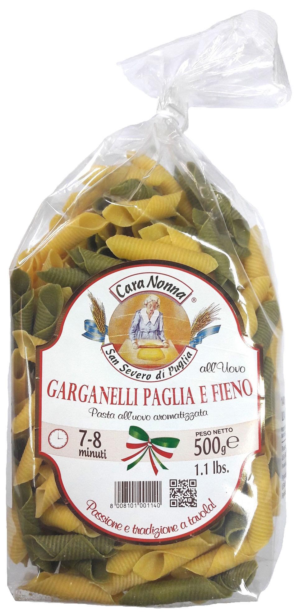 Макароны Паста яичная CARA NONNA цветная GARGANELLI Paglia e Fieno, 500