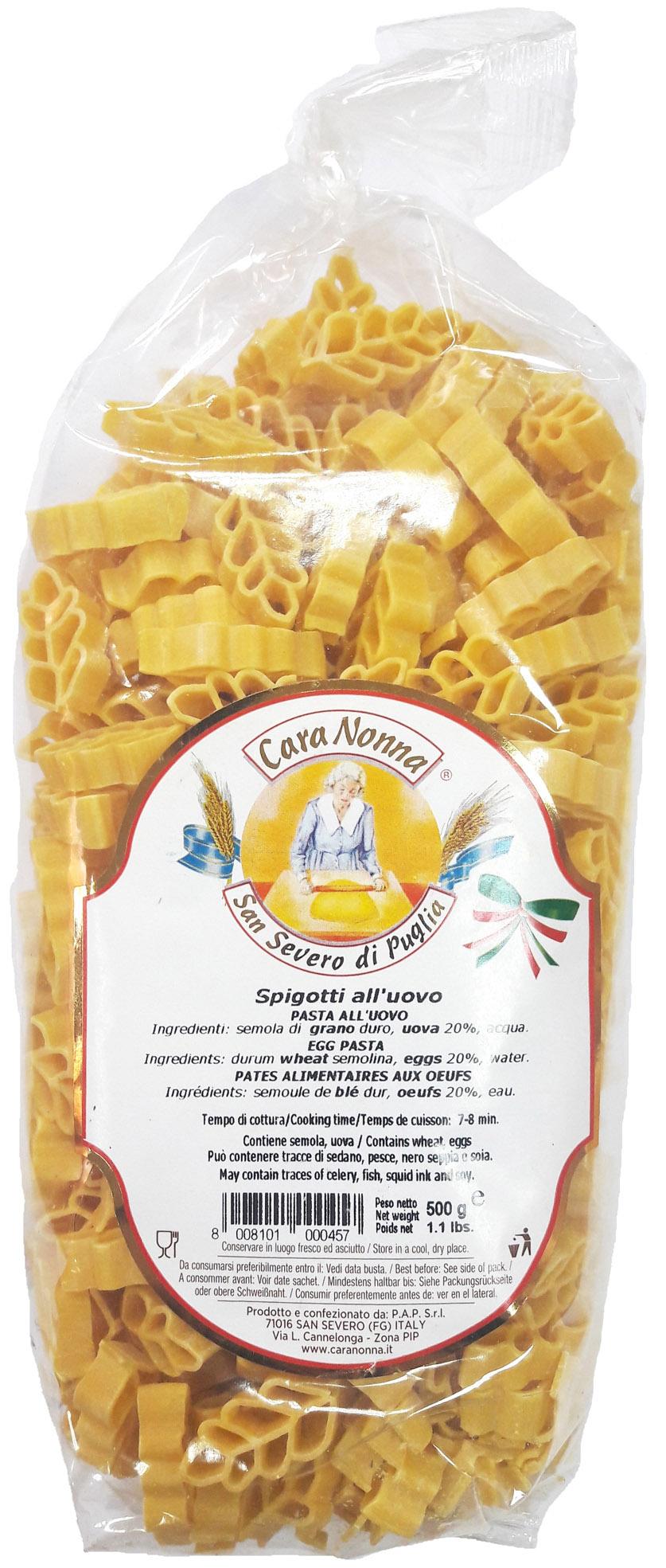 Макароны Паста яичная CARA NONNA SPIGOTTI (пшеничный колосок), 500 соус паста pearl river bridge hoisin sauce хойсин 260 мл