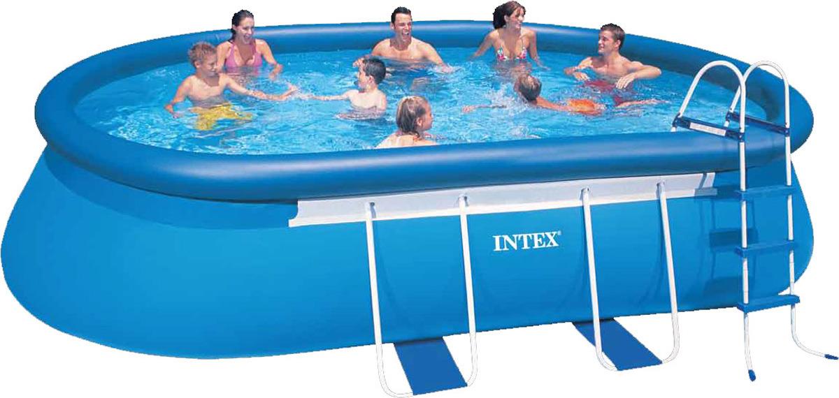 Бассейн Intex, надувной, овальный, с набором для очистки, с54432, голубой, 549 х 305 х 107 см бассейн каркасный intex 28310 ultra frame 427х107см
