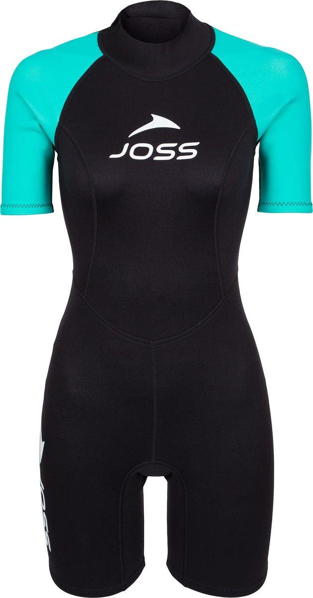 Гидрокостюм женский Joss Women's Shorty Wetsuit, черный, голубой, размер 46 женский гидрокостюм bare elastek semi dry 7mm