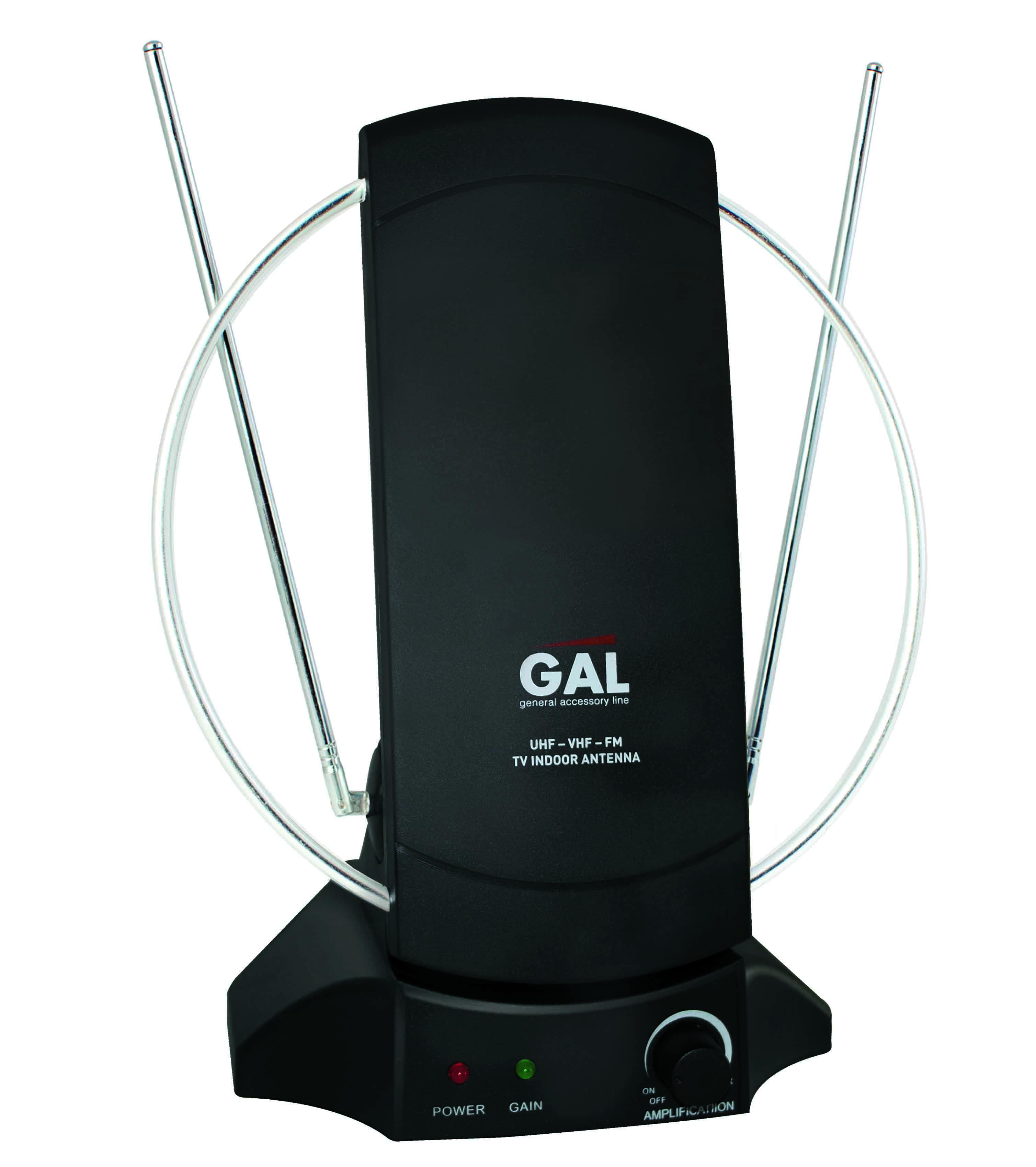 Антенна комнатная активная для приема цифрового и аналогового сигналов, со встроенным усилителем GAL AR-468AW