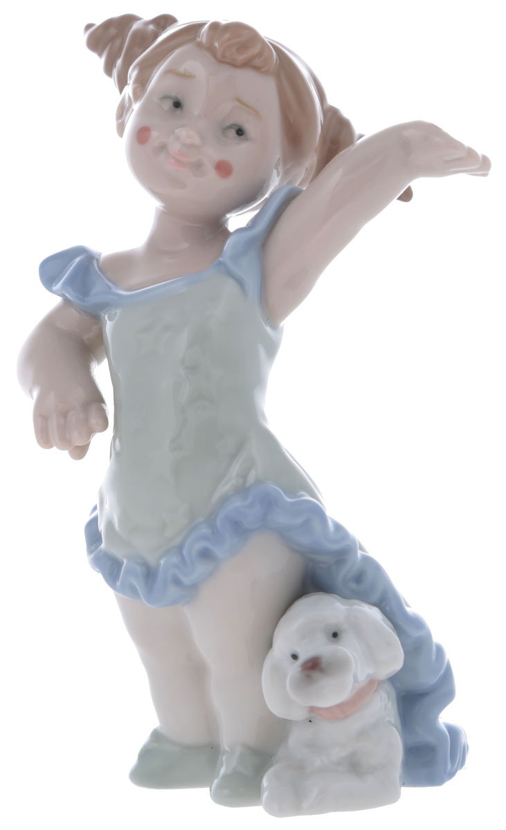 """Статуэтка Lladro """"Маленькая дрессировщица"""". Фарфор, ручная роспись. Высота 14 см. Nao, Испания (Валенсия), 2004 год"""