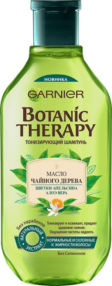 """Garnier Шампунь """"Botanic Therapy. Масло чайного дерева, цветки апельсина, алоэ вера"""" для нормальных и склонных к жирности волос, 400 мл"""