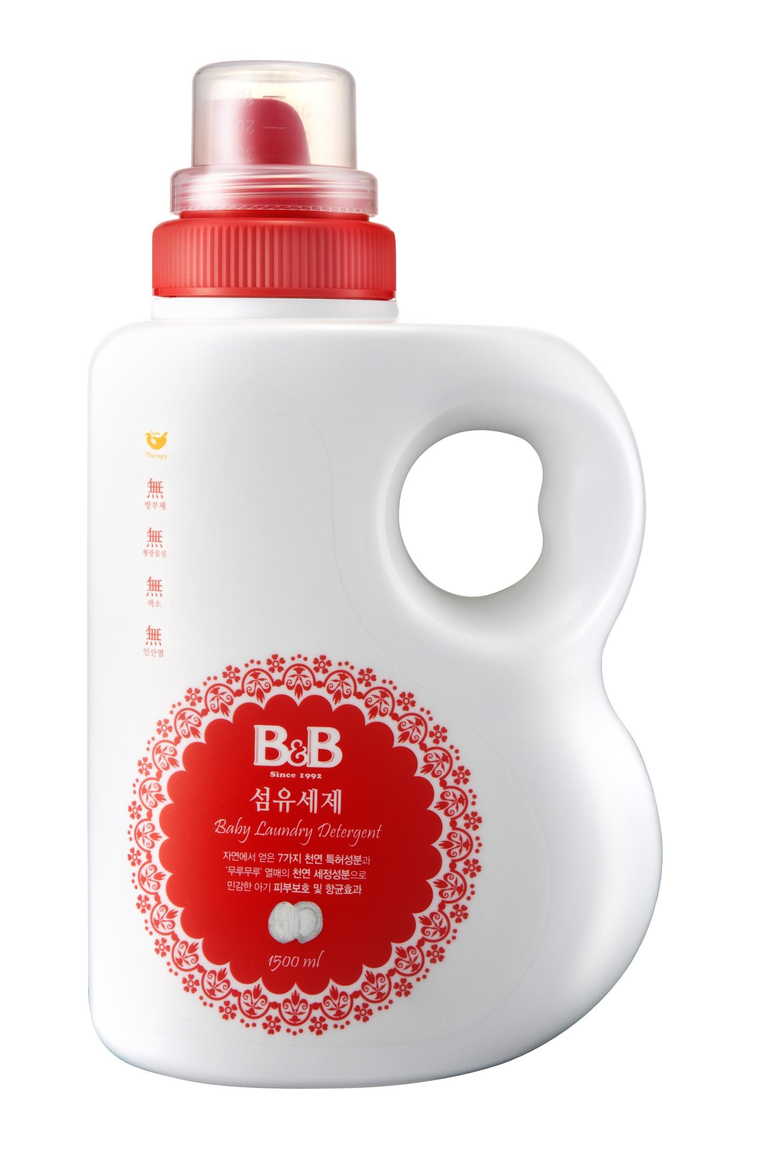 Жидкое средство для стирки B&B Гель для стирки детского белья с первых дней жизни. 100 стирок! Корея, прозрачный, 1500 мл.