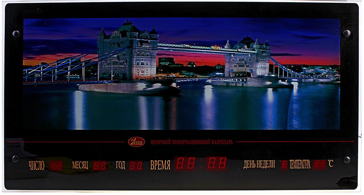 Картина 21 Век Ночной Лондон, с подсветкой и информационным календарем, 628746, 70 х 37 см картина тв не работает