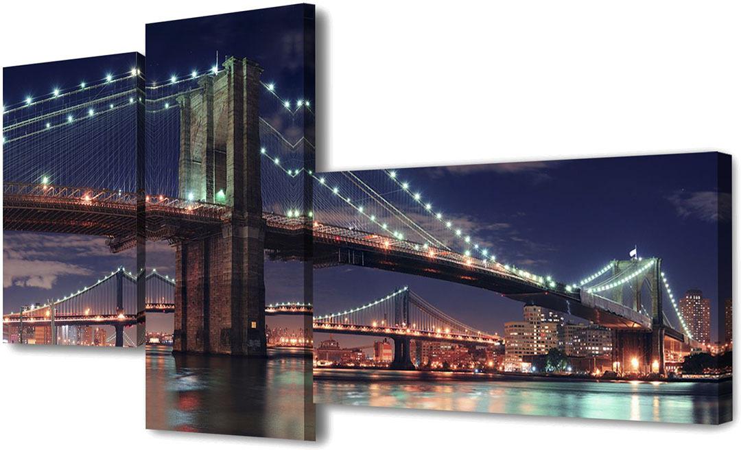 Картина Topposters Огни ночного города, модульная, 886630, 200 х 100 см картина topposters 78x50cm xh 231