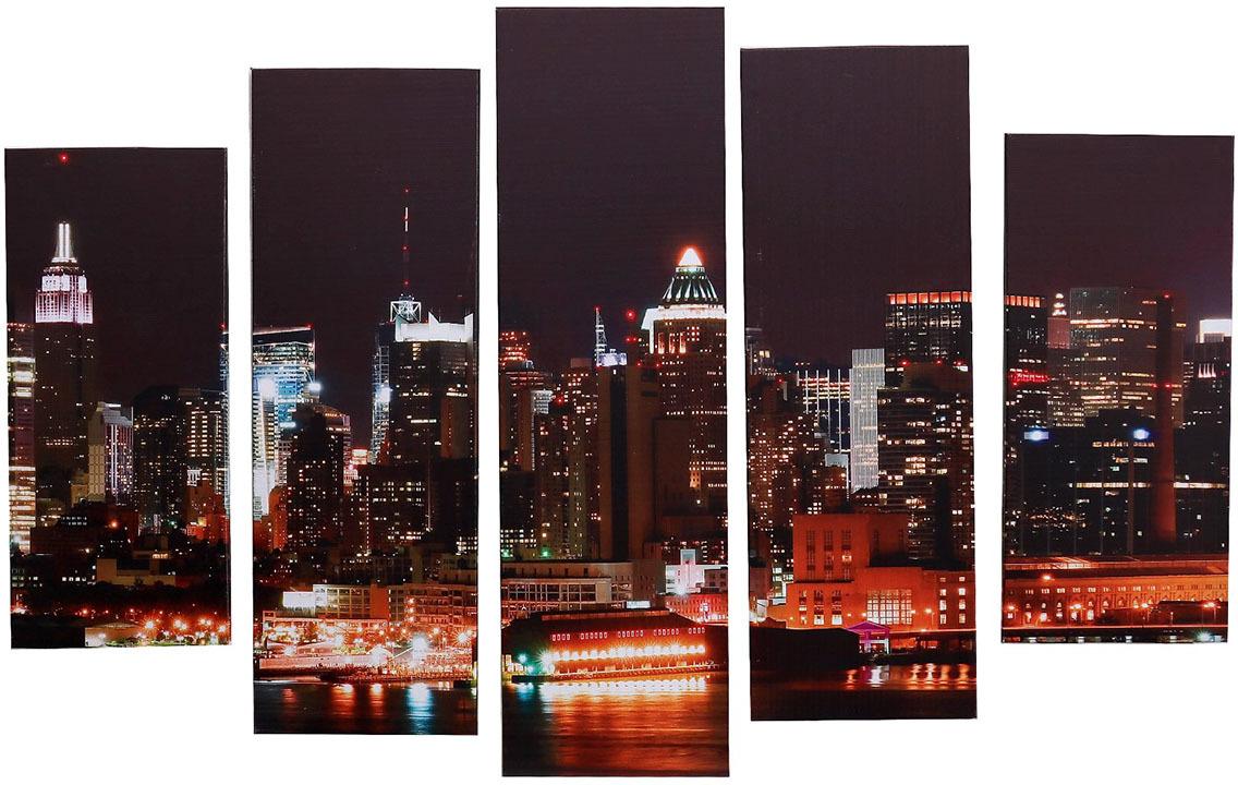 Картина Постер-Лайн Ночной Нью-Йорк, модульная, 1337000, 115 х 80 см крем кора нью лайн