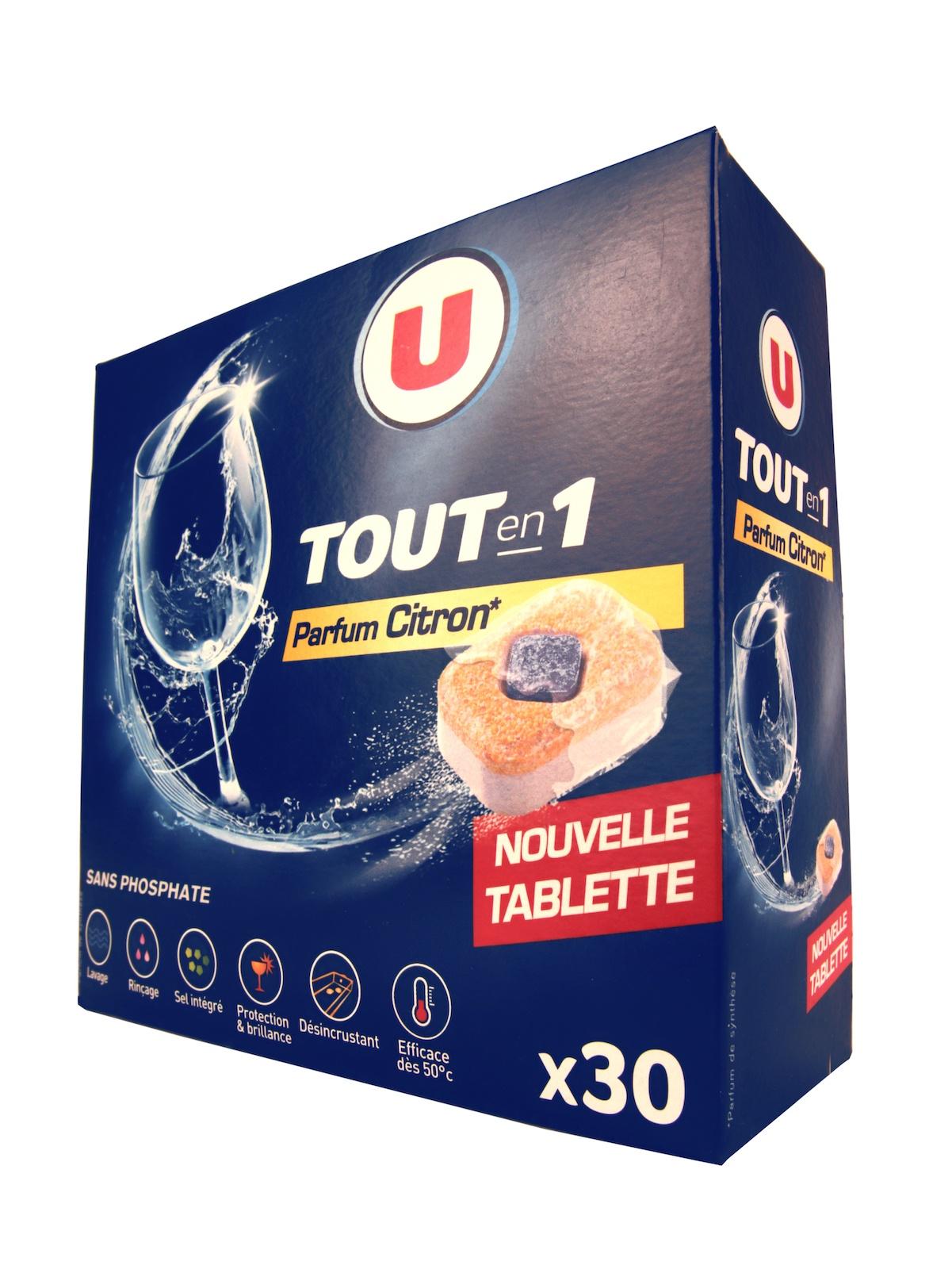 Таблетки для посудомоечной машины U Все в Одном в растворимой оболочке с ароматом лимона 30 шт Франция стоимость