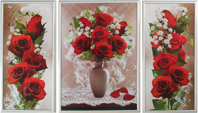 Картина Ярко-красные розы. Трихтин, модульная, 2943430, 125 х 73 см картина бордовые тюльпаны трихтин модульная 2943431 125 х 73 см