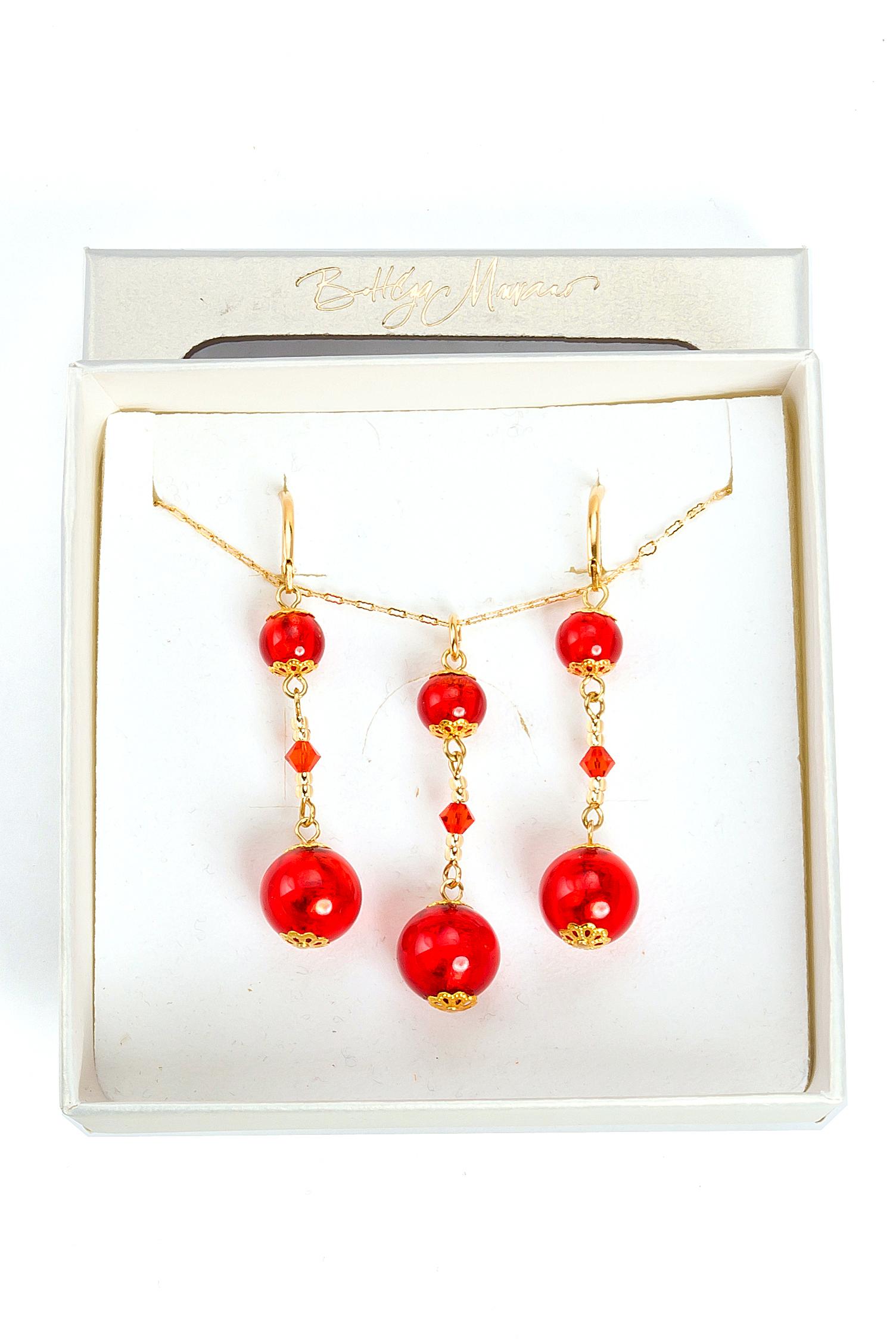 цена на Комплект бижутерии Bottega Murano 09010157-1 072O, Муранское стекло, красный