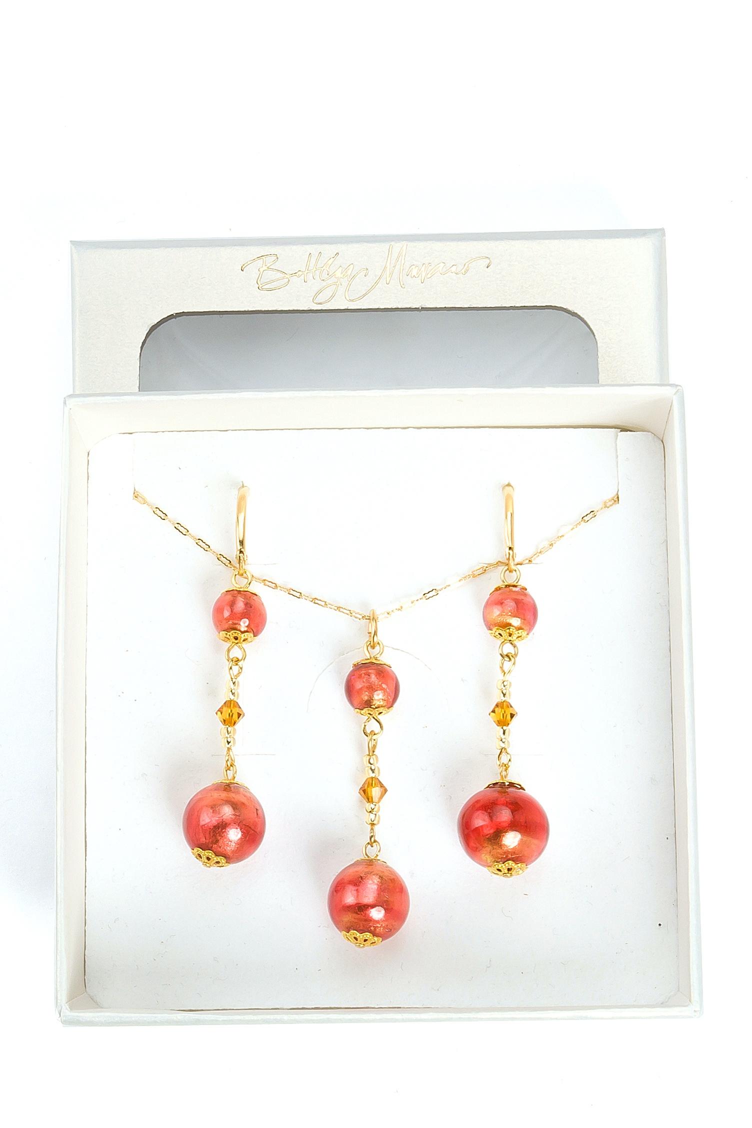 цена на Комплект бижутерии Bottega Murano 09010157-1 76004О, Муранское стекло, фуксия