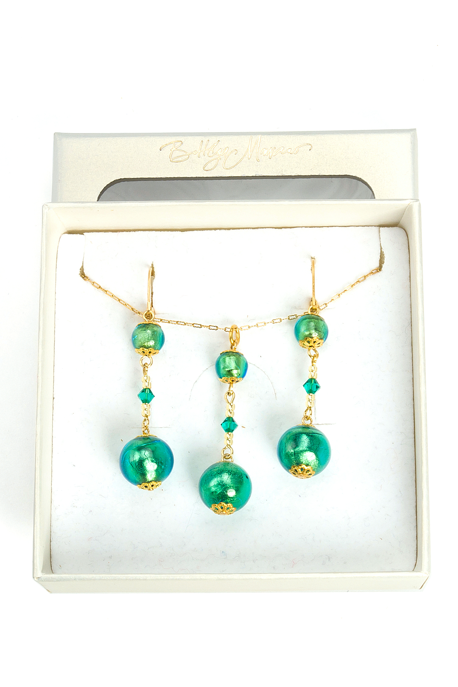цена на Комплект бижутерии Bottega Murano 09010157-1 034О, Муранское стекло, зеленый
