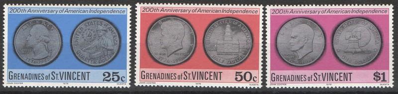 Марка Серия марок. Гренадины Сент-Винсент. 200 лет США. 1976 год