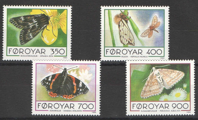 Марка Серия марок. Фарерские острова. Бабочки. 1993 год 1 250 proof 1993