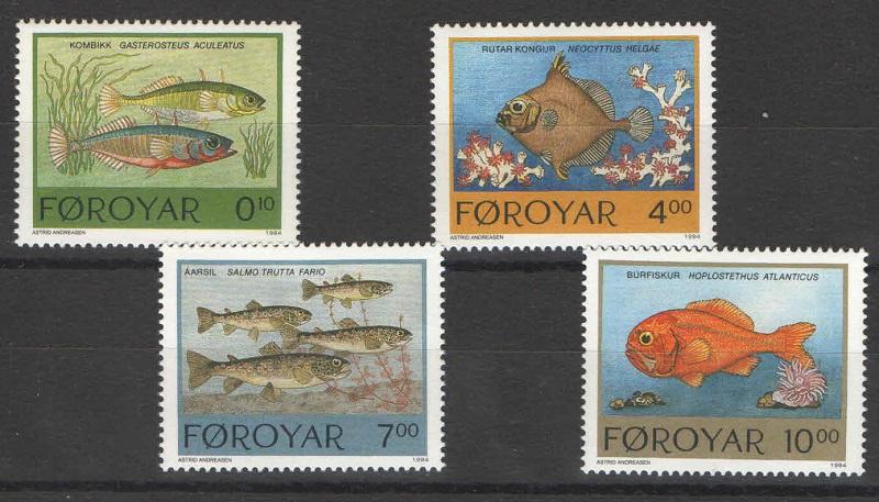 Марка Серия марок. Фарерские острова. Рыбы. 1994 год рыбы серия