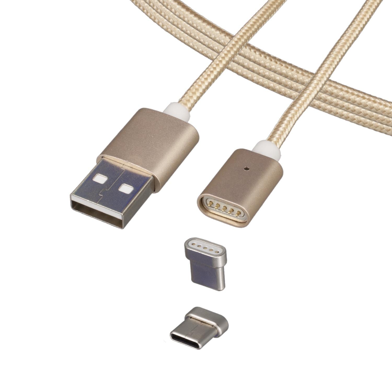 Кабель Magnetic Cable Type-C, золотой разъём штекер tv без пайки белый proconnect индивидуальная упаковка 1 шт