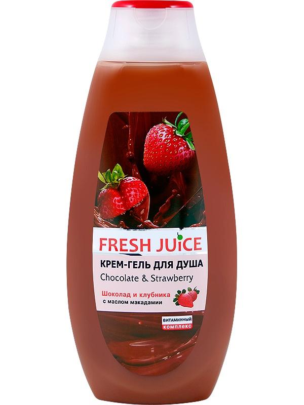 Гель для душа Fresh Juice Крем-гель для душа Chocolate Strawberry 400мл milk fru bubble набор гель для душа клубника 400мл молочко для тела клубника 200мл новогодняя открытка