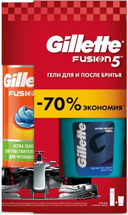 Набор Gillette Гель для бритья Fusion5, для чувствительной кожи, 200 мл + Гель после бритья, 75 мл гель для бритья gillette series гипоаллергенный 200 мл