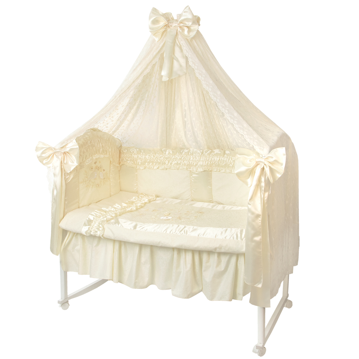 Комплект белья для новорожденных Золотой гусь Птенчики, бежевый пеленка непромокаемая на резинке золотой гусь однослойная