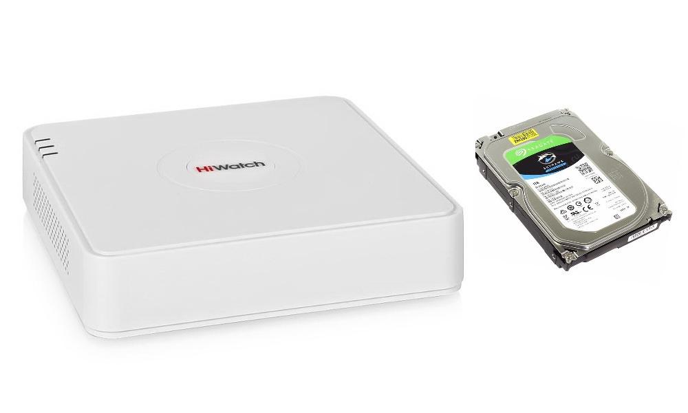 Регистратор Hiwatch IP-видеорегистратор DS-N108 со встроенным жестким диском SEAGATE Skyhawk ST1000VX005, 1Тб цена в Москве и Питере