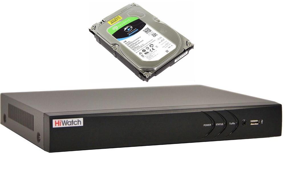 Регистратор Hiwatch DS-N308/2(B) со встроенным диском 1 ТБ SEAGATE Skyhawk ST1000VX005, HDD, SATA III, 3.5