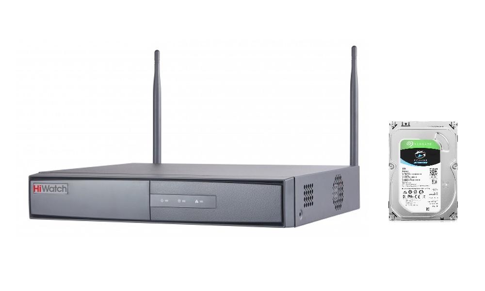 Регистратор Hiwatch IP-видеорегистратор DS-N304W со встроенным диском 1 ТБ SEAGATE Skyhawk ST1000VX005, HDD, SATA III, 3.5