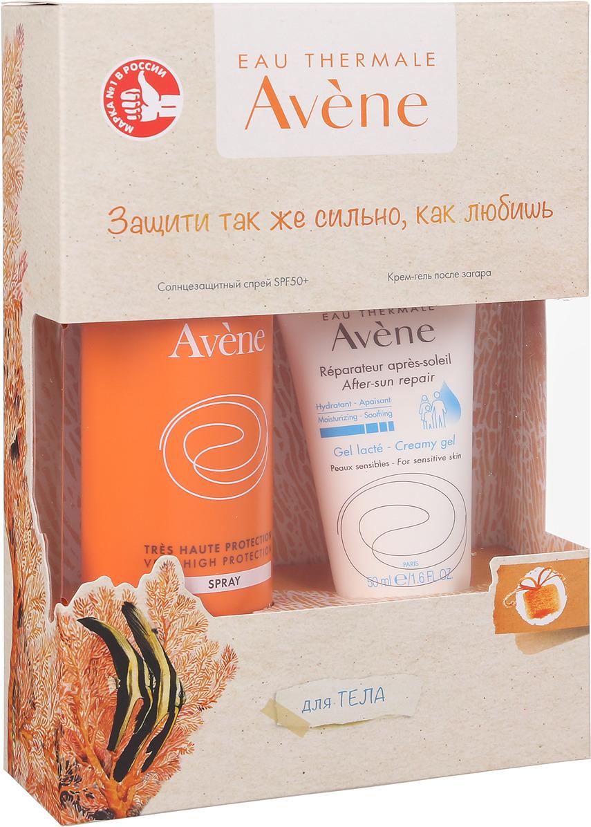 Набор Avene Солнцезащитный спрей, SPF 50+, 200 мл + Восстанавливающий крем-гель, 50 мл Avene