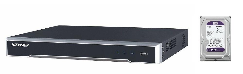 Регистратор HIKVISION IP-видеорегистратор DS-7616NI-K2 со встроенным жестким диском WD Purple 1 ТБ WD10PURZ, черный внешний контейнер для hdd 2 5 sata agestar subcp1 usb2 0 белый