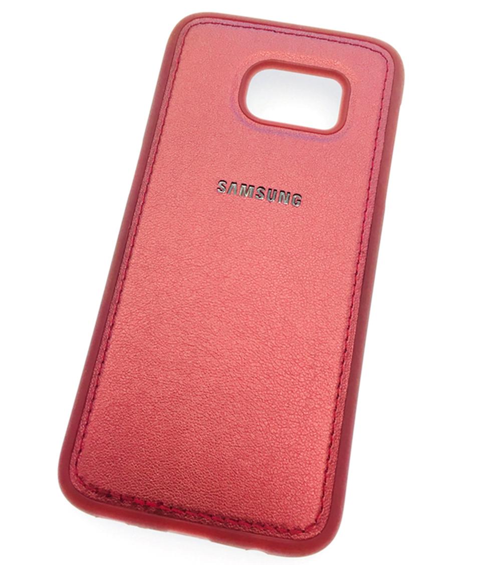Чехол для сотового телефона Мобильная мода Samsung S7 Накладка силиконовая с отделкой из кож.зама ORIG, красный