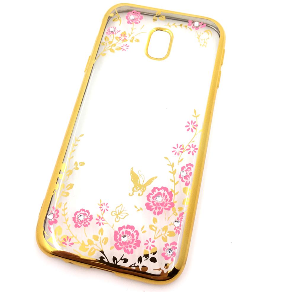Чехол для сотового телефона Мобильная мода Samsung J3 2017 Силиконовая прозрачная накладка со стразами, золотой чехол для сотового телефона мобильная мода meizu pro 6 силиконовая прозрачная накладка со стразами 6371g золотой