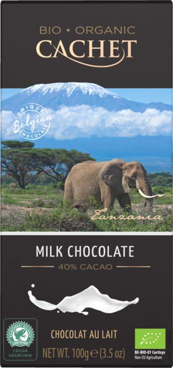 Шоколад Cachet Bio Organic, элитный бельгийский Молочный 40% какао(Танзания), 100 г