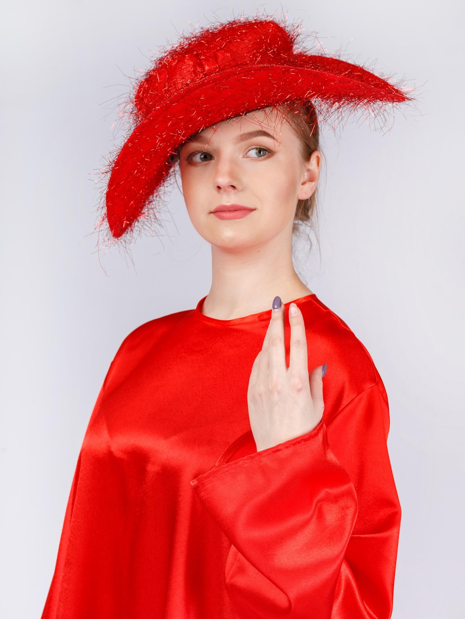 Шляпа карнавальная Gala-Вальс люрекс, красный цена
